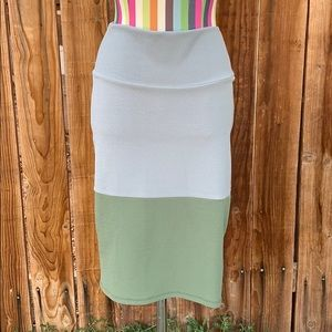 LuLaRoe Cassie Pencil Skirt Olive Green And Gray